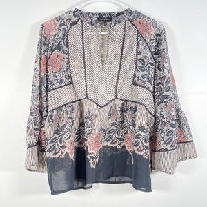 Lucky Brand Large Floral Boho Hippie Blouse Top